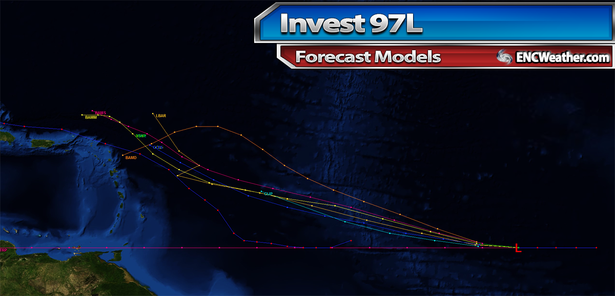 Early forecast model solutions for Invest 97L. (Subject to errors)