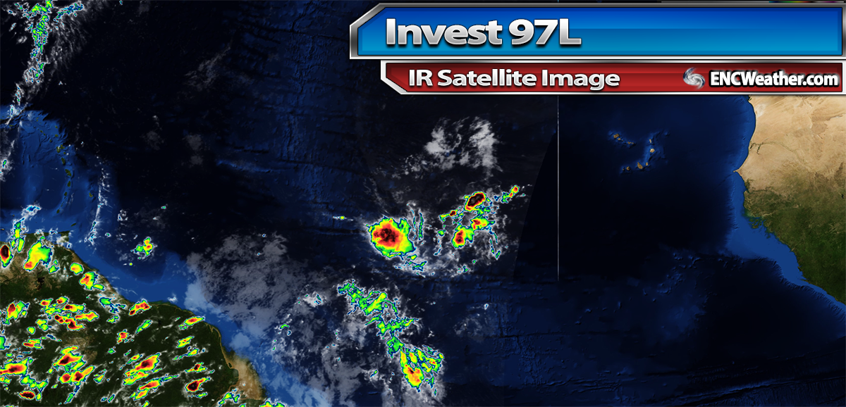 IR satellite image of Invest 97L in the central Atlantic Ocean.
