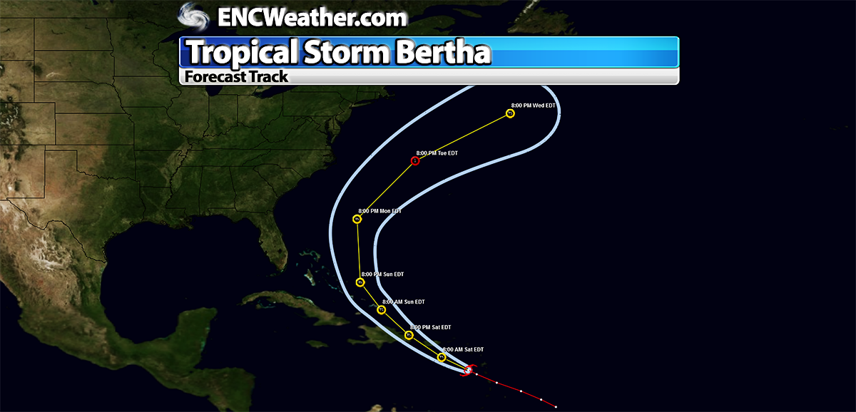 Unofficial forecast track for Tropical Storm Bertha.