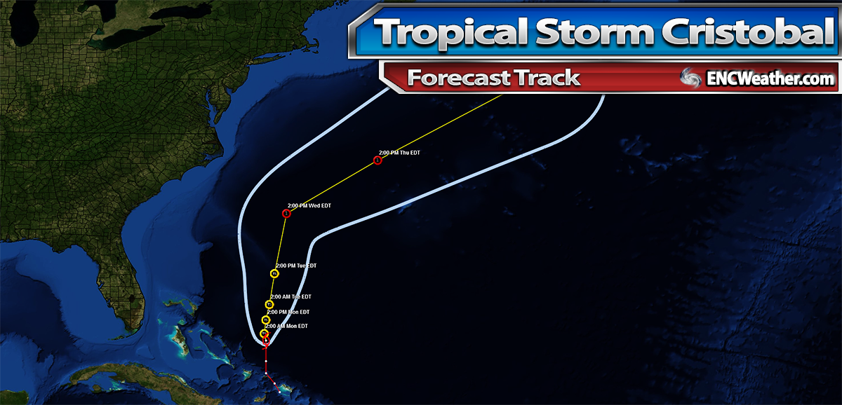 Forecast track for Tropical Storm Cristobal as of 7:00 PM EDT.