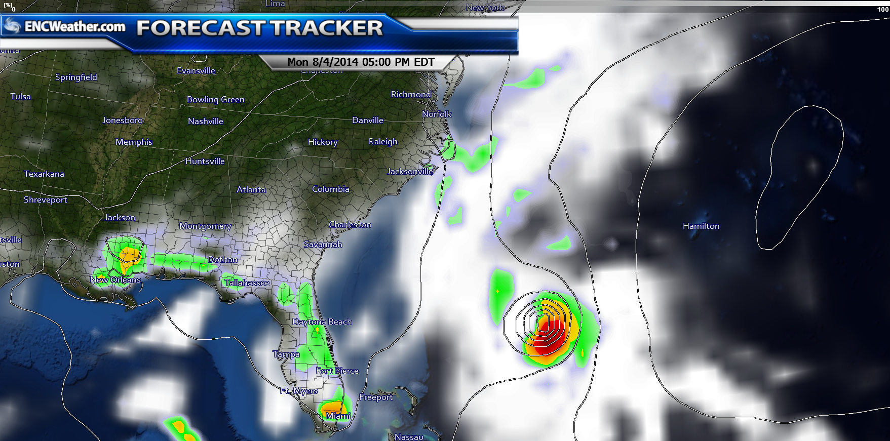 GFS forecast model shows Bertha regaining strength as it travels over the warmer waters of the Atlantic Ocean.