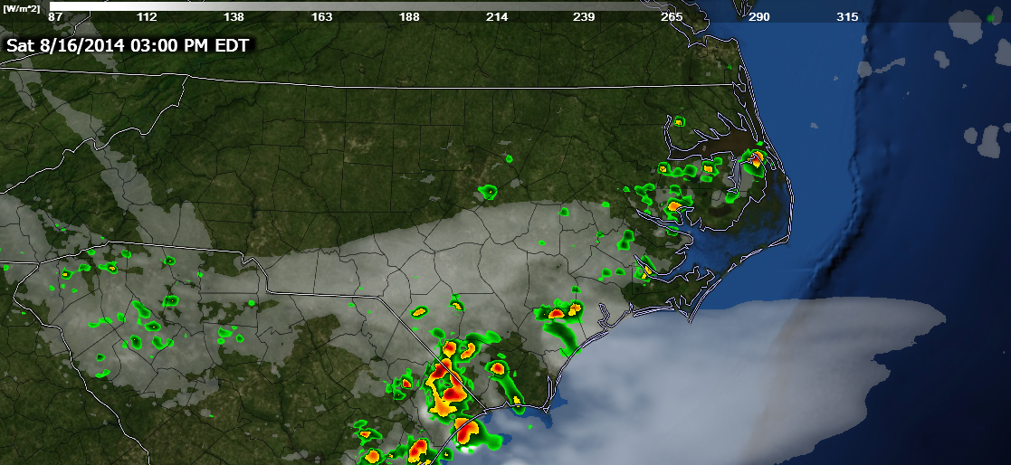 HRRR forecast reflectivity shows scattered shower and storms this afternoon.