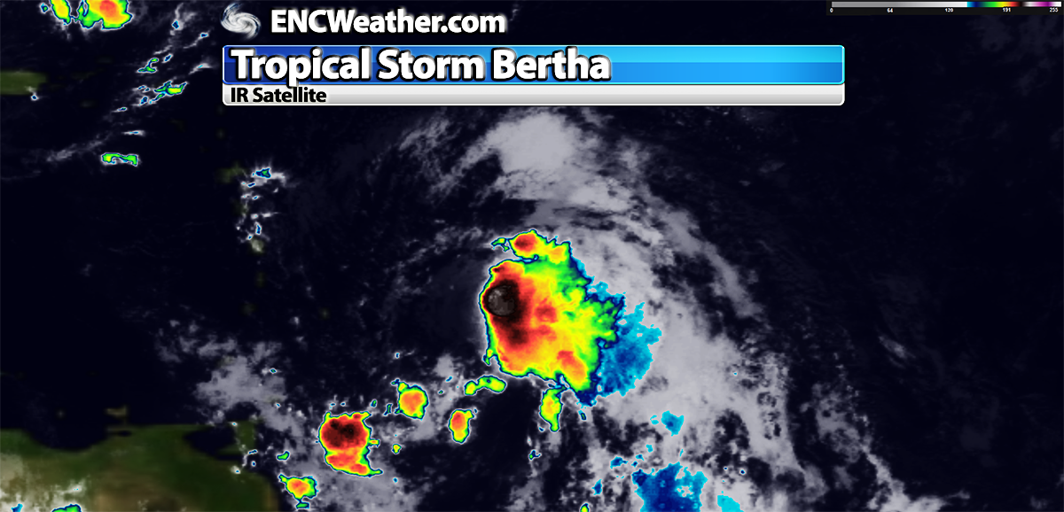IR satellite image of newly formed Tropical Storm Bertha.