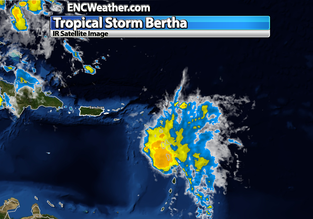 IR satellite image of Tropical Storm Bertha.
