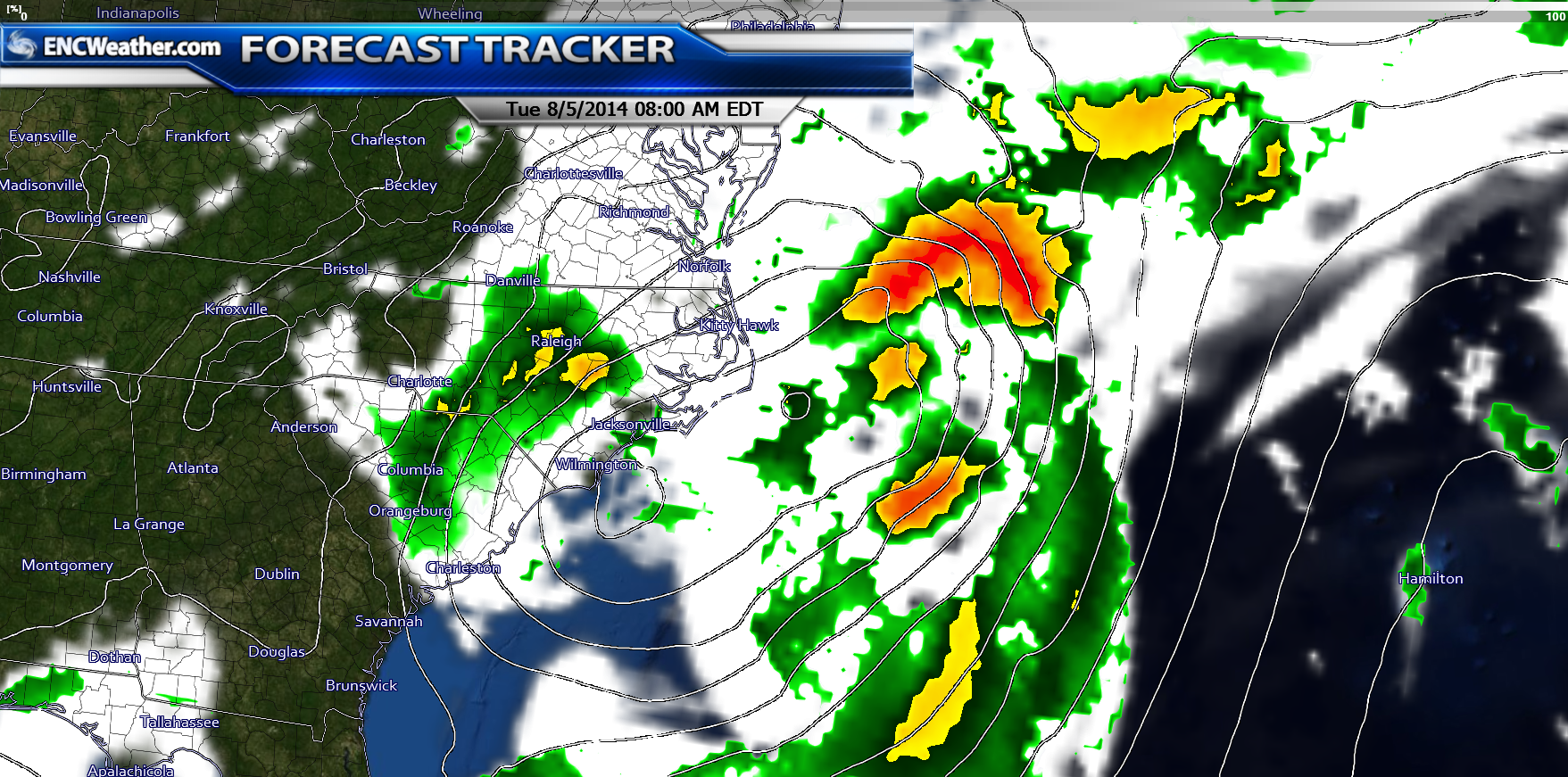 In the NAM forecast model solution, the surface low and Bertha could merge off the NC coast.