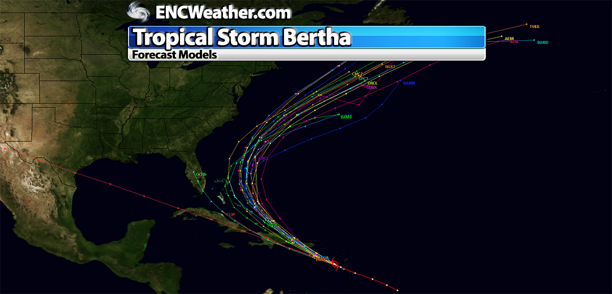 Forecast models are in close agreement with the general track of Tropical Storm Bertha.