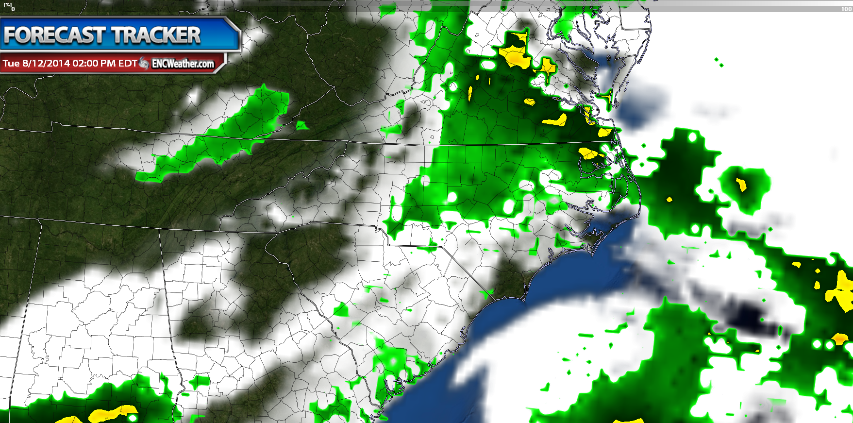 NAM forecast model shows some showers associated with the approaching cold front across ENC.