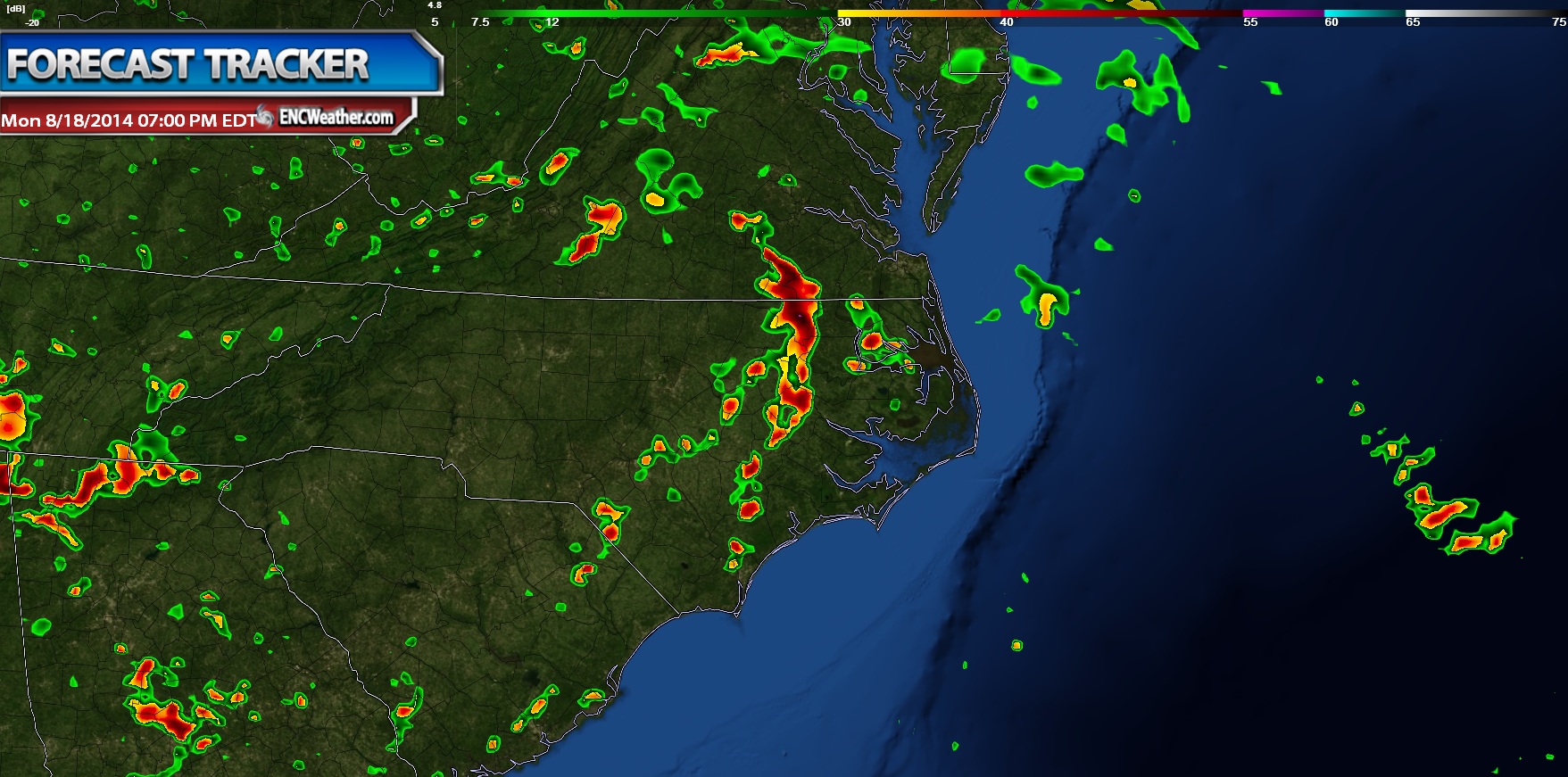 NAM forecast reflectivity for Monday evening as a line of storms moves through the northern half of ENC.