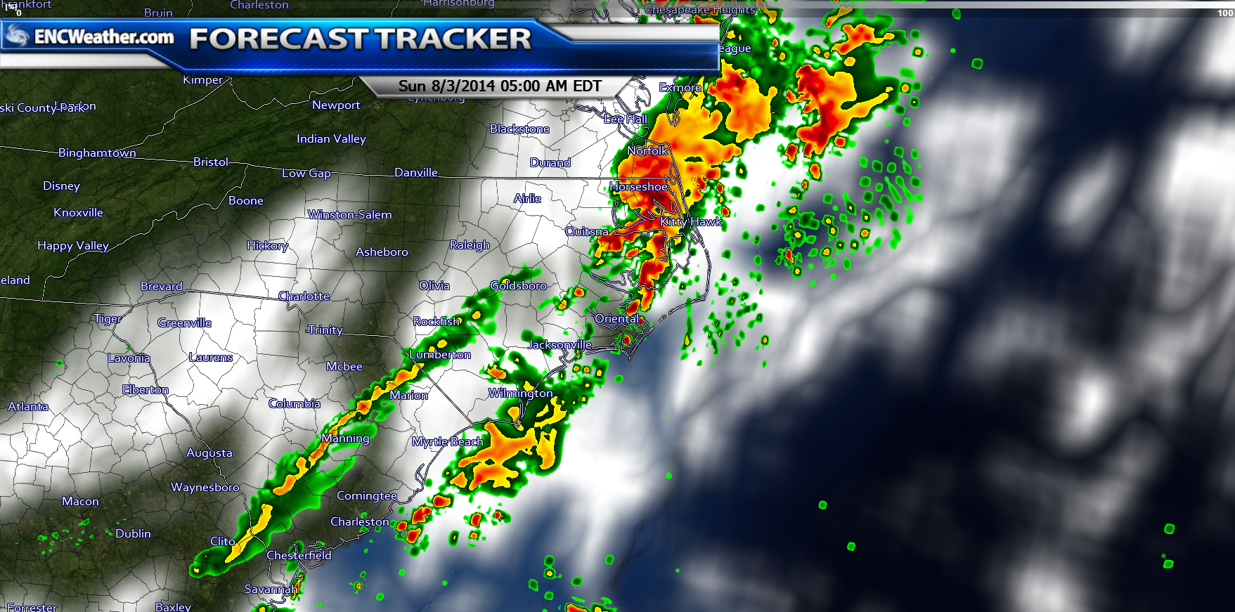 The HRRR forecast model shows some early morning showers across ENC. The rain will continue into the day.