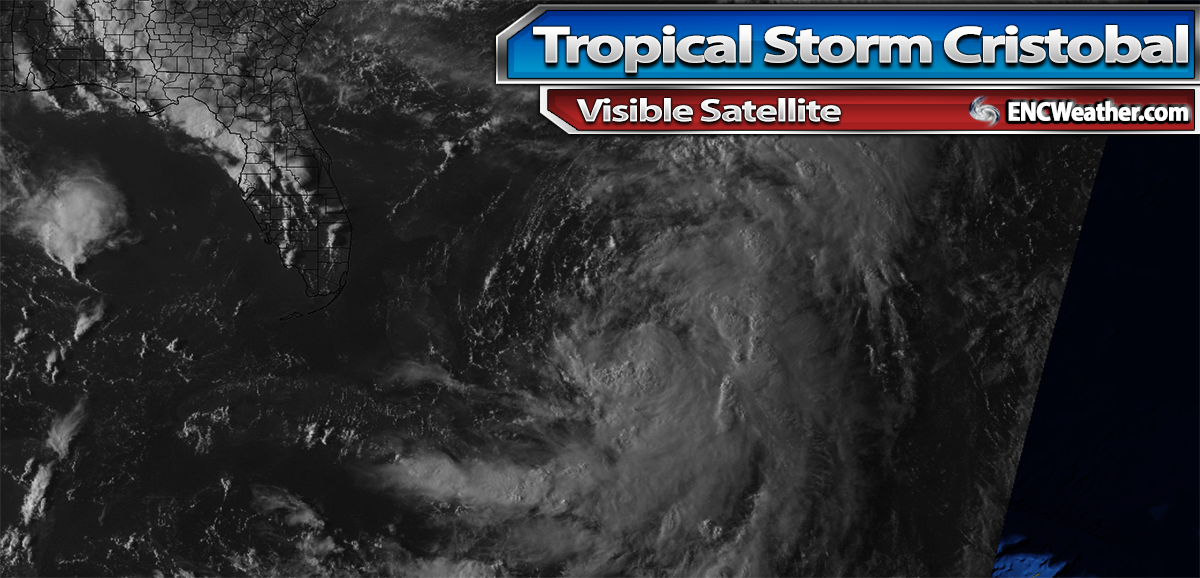 Visible satellite image of Tropical Storm Cristobal.