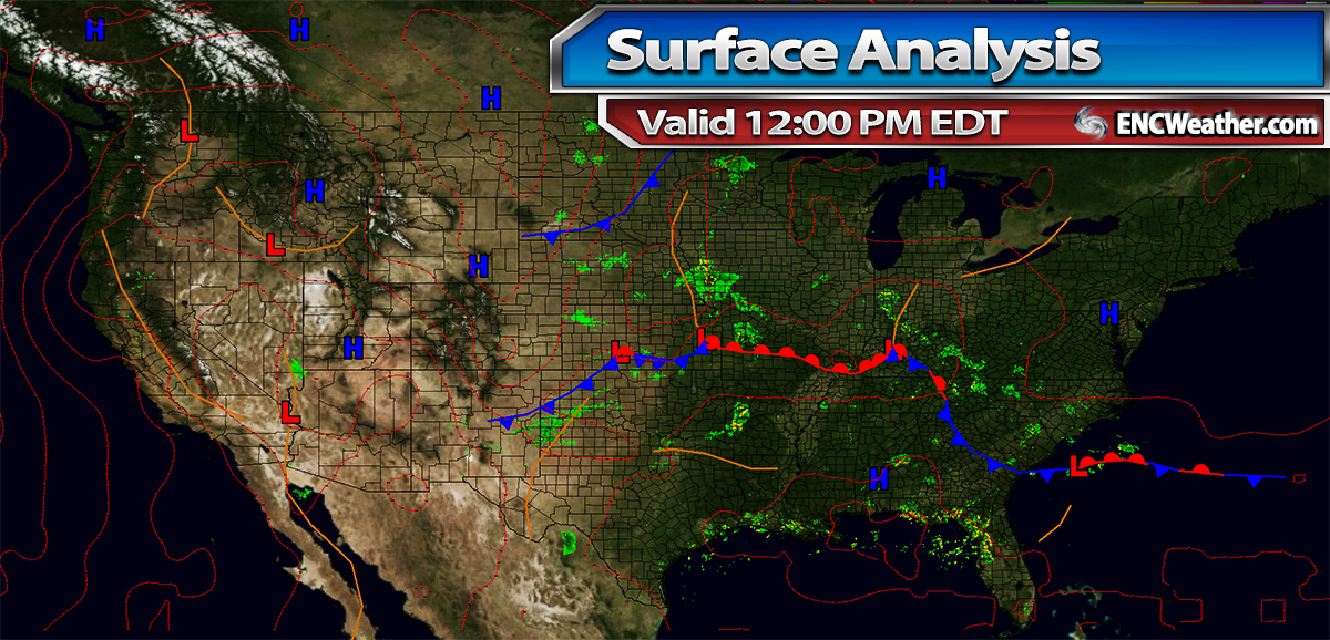 Surface analysis as of 12:00 PM EDT.
