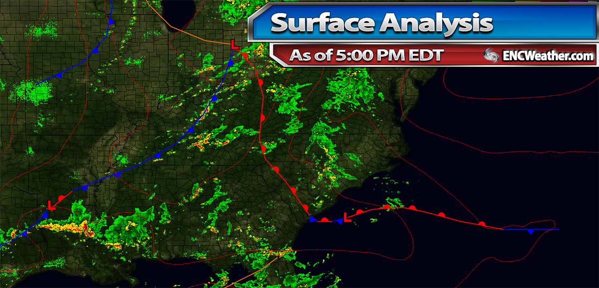 Surface analysis as of 5:00 PM EDT.