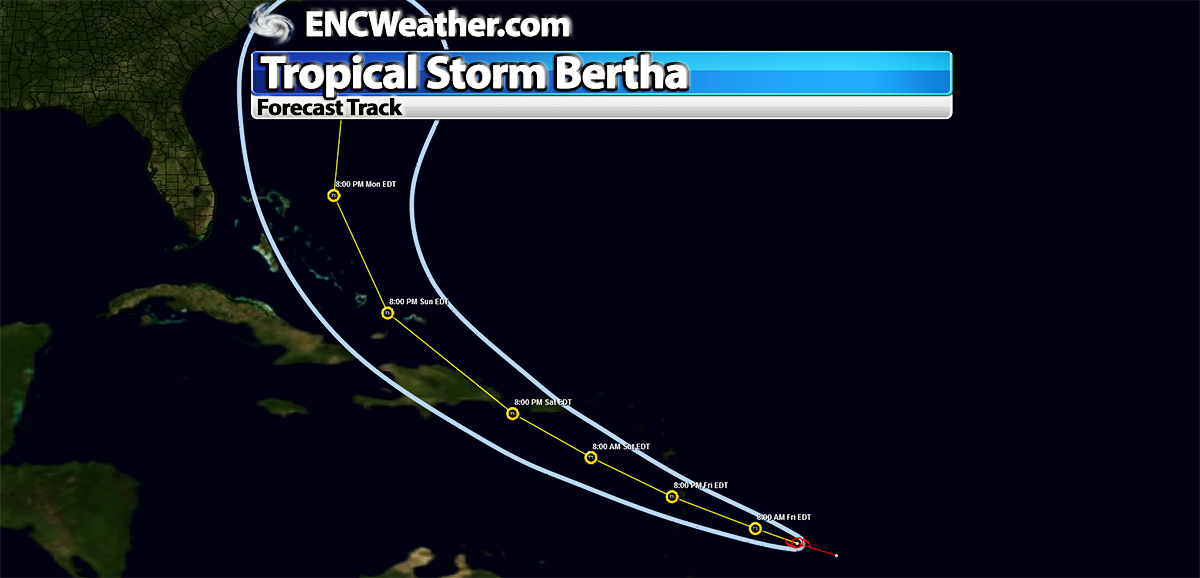 Forecast track for Bertha as of 3:00 AM EDT.