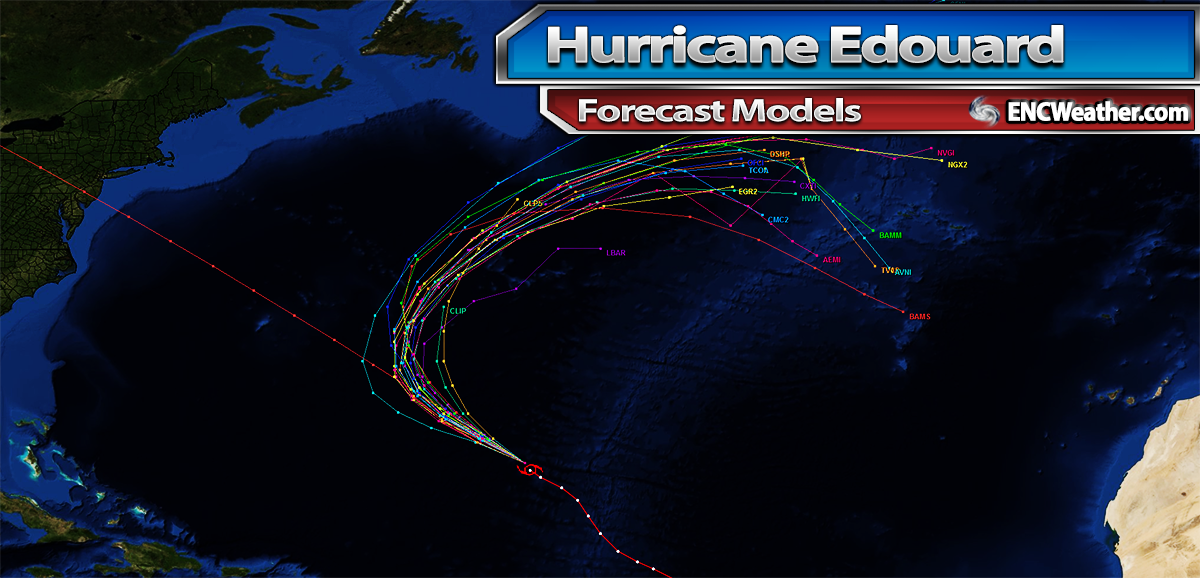 Forecast model tracks for Hurricane Edouard.