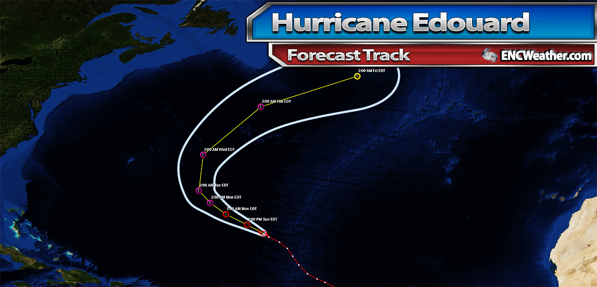 Forecast track for Hurricane Edouard.