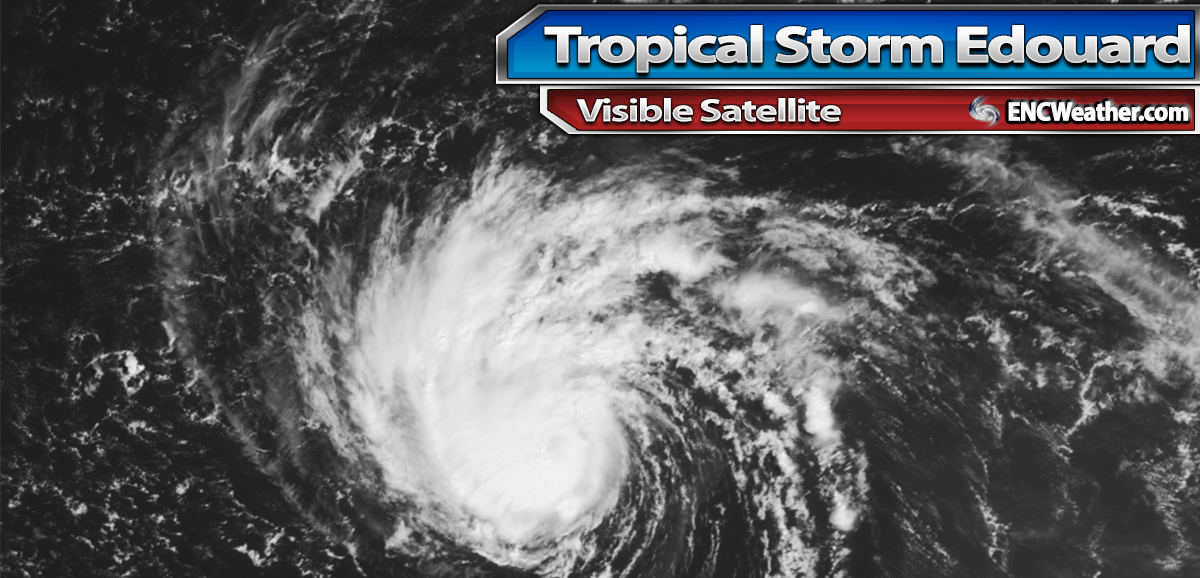 Visible Satellite image of Tropical Storm Edouard as of 10:30 PM EDT.