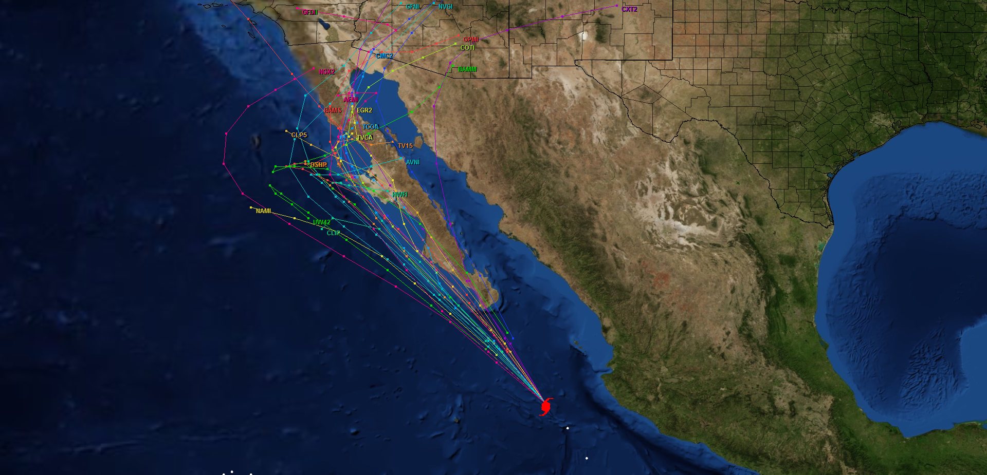 Forecast model tracks for Major Hurricane Odile.