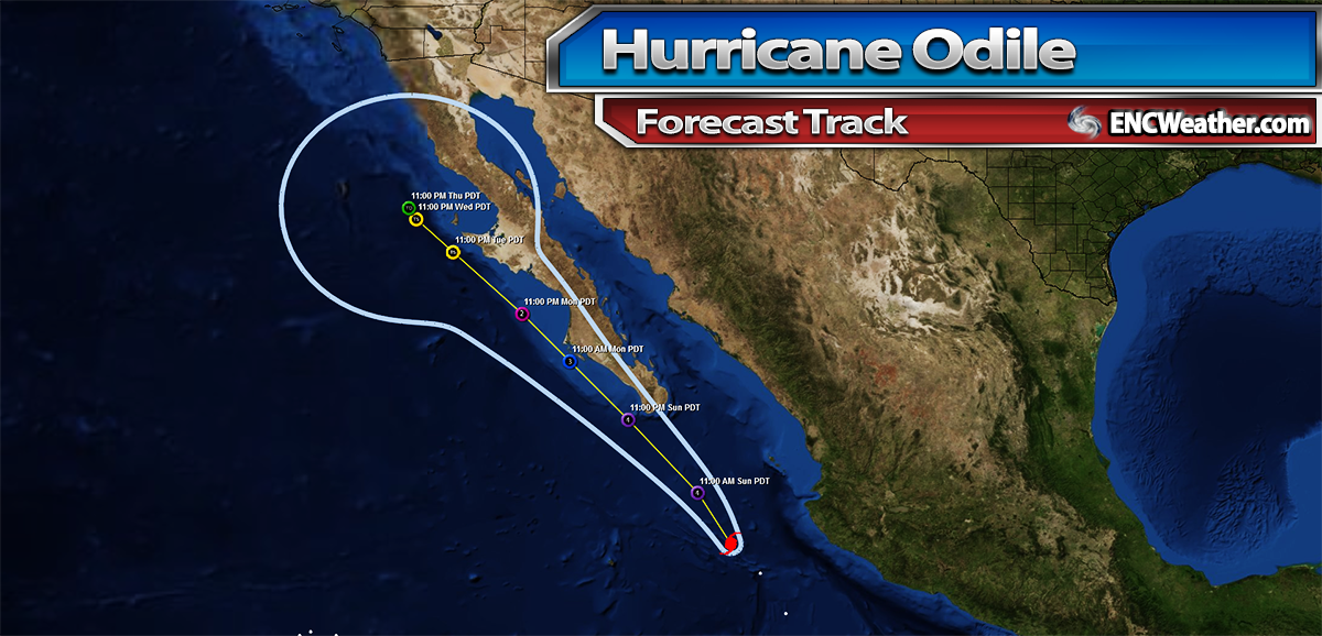 Forecast track for Major Hurricane Odile.