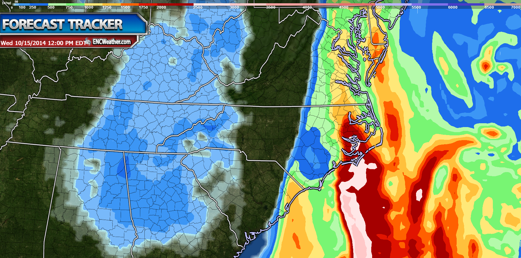 CAPE values well ahead of the front are supportive of severe convection.