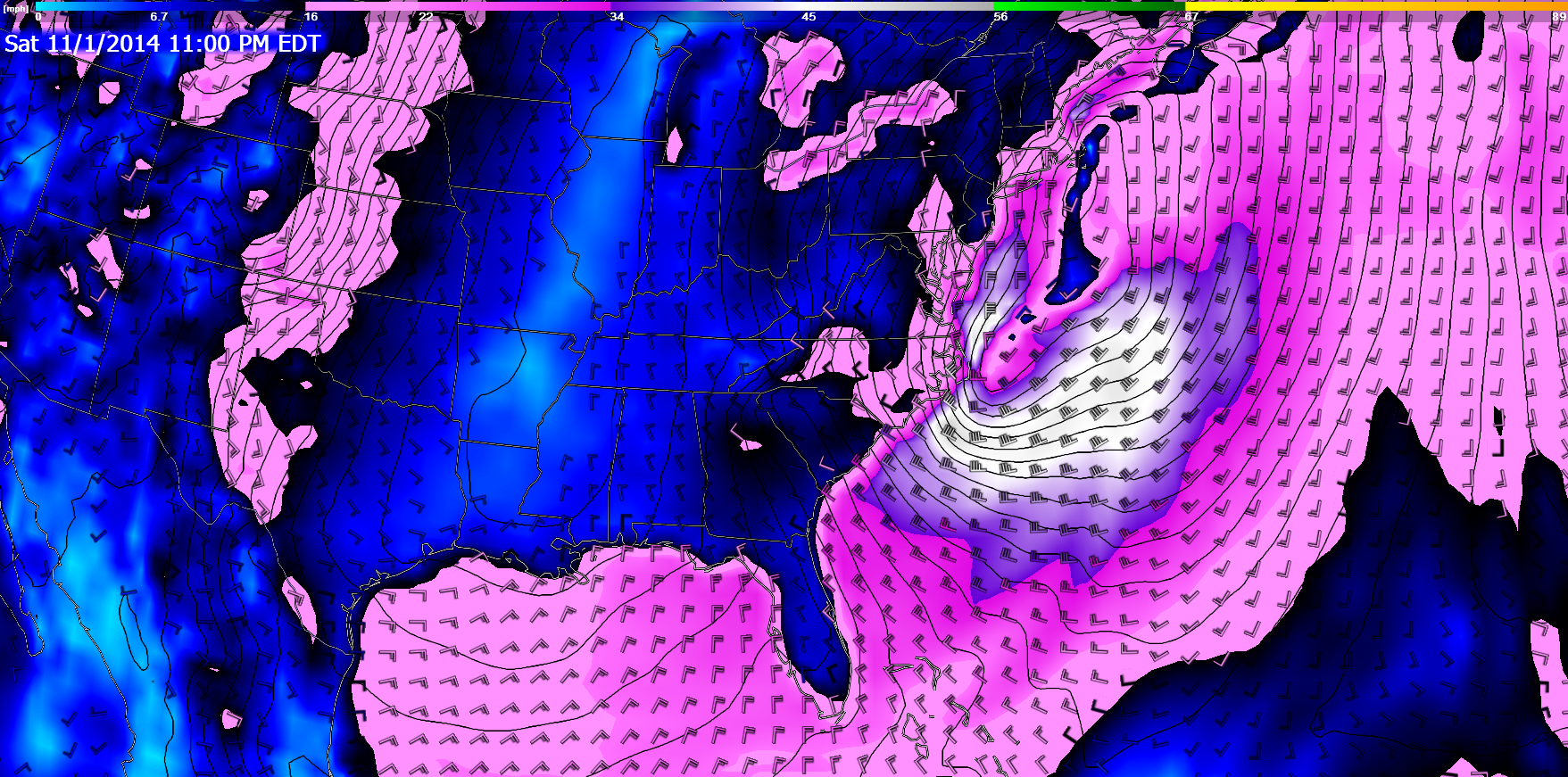 18Z GFS surface winds for Saturday night/Sunday morning.