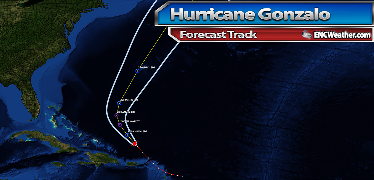 Forecast track for Hurricane Gonzalo.