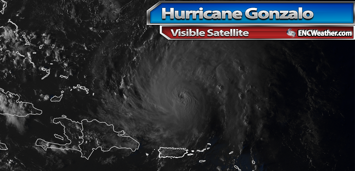 Visible satellite image of Hurricane Gonzalo before sunset on Wednesday evening.