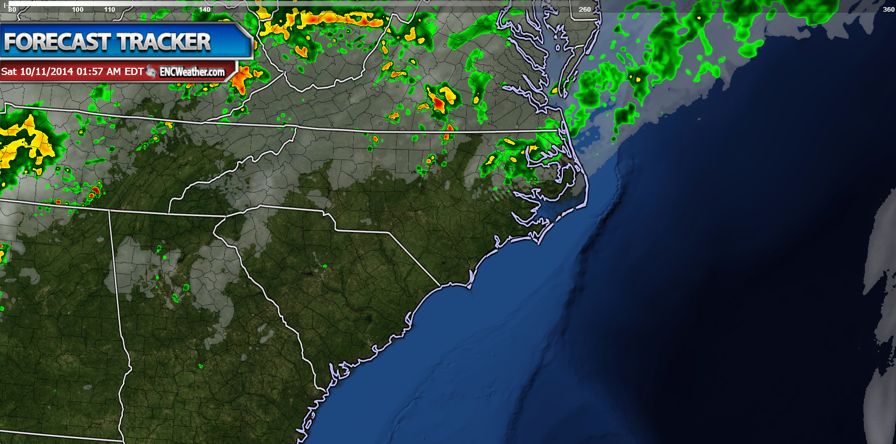 Future radar shows rain decreasing later tonight with north and northwestern sections of ENC seeing some rain.