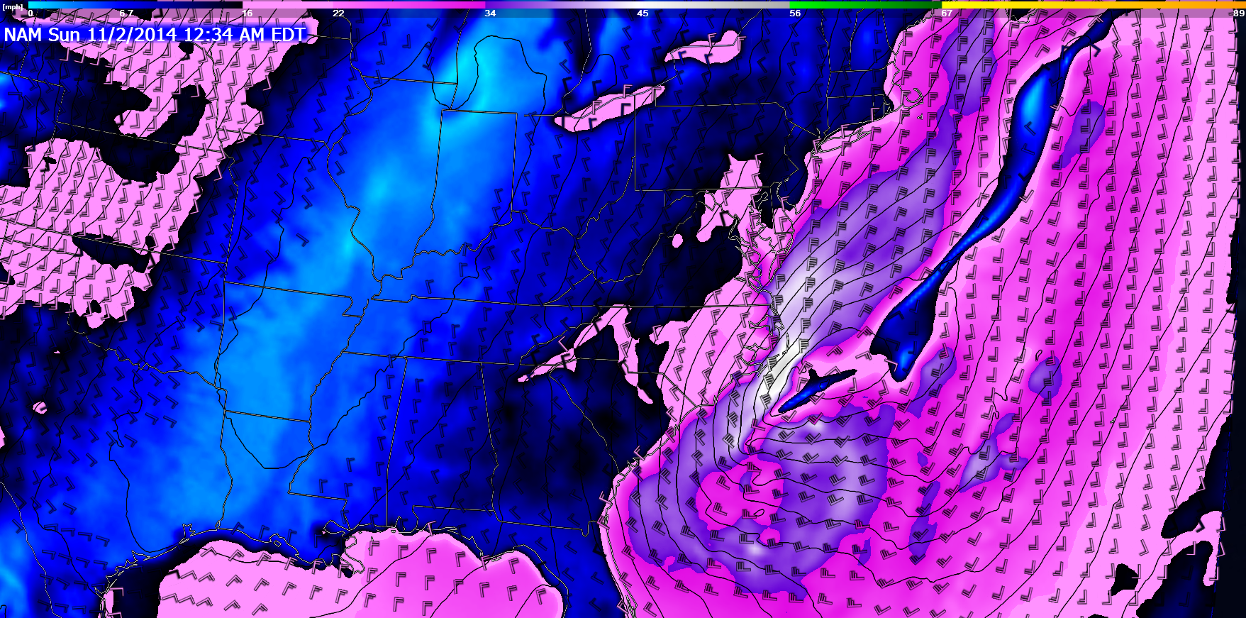 18Z NAM surface winds for Saturday night/Sunday morning.