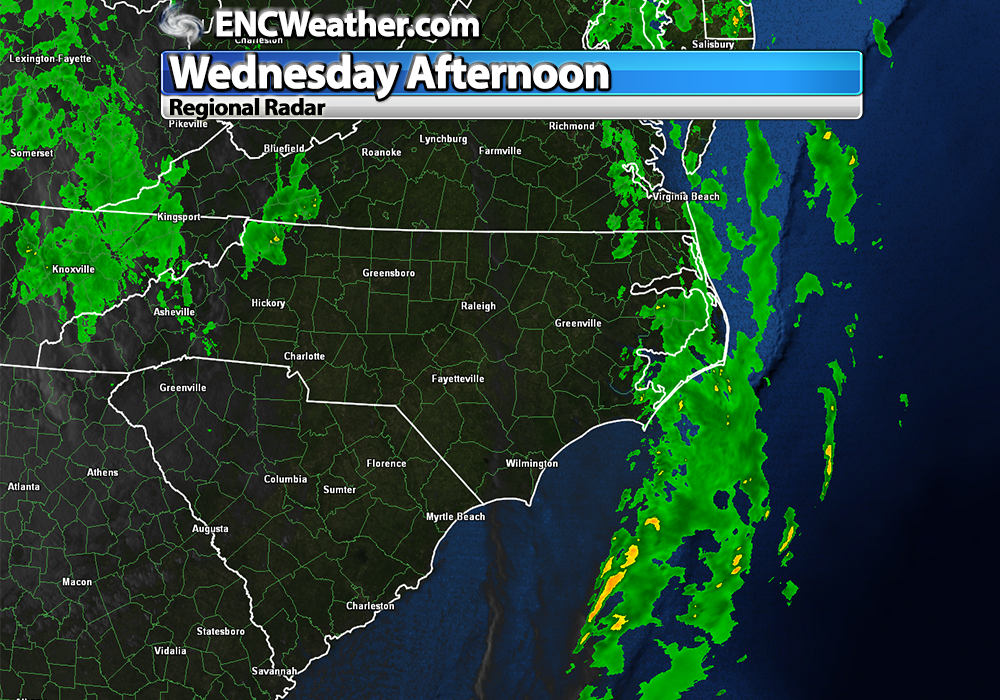 Showers associated with the cold front will be offshore sometime during the next hour.