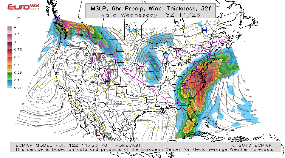 12Z ECMWF surface low track just over the ENC coast. Image source: EUROWX.com