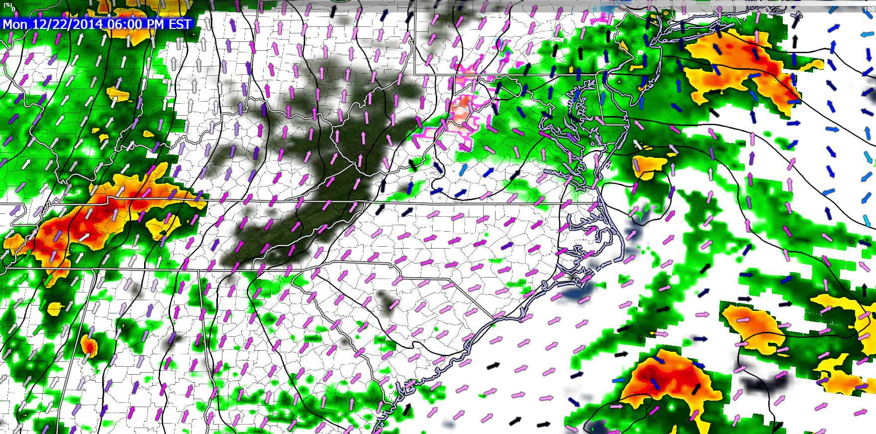 Mid-level southerly winds will result in warm air advection at 850 mb leading to overcast conditions over ENC.