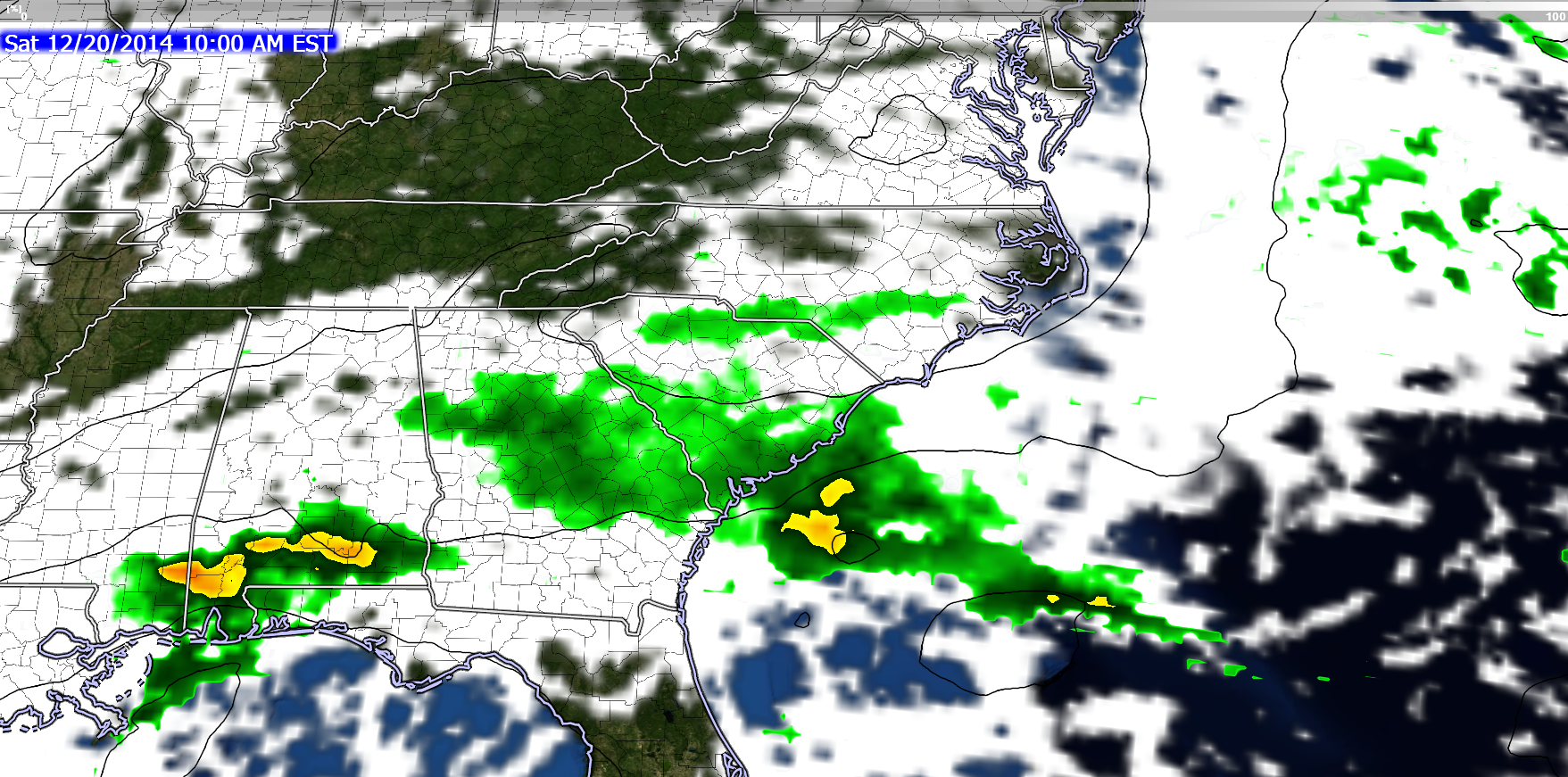 NAM forecast model shows very light, scattered rain across southern sections of ENC on Saturday.