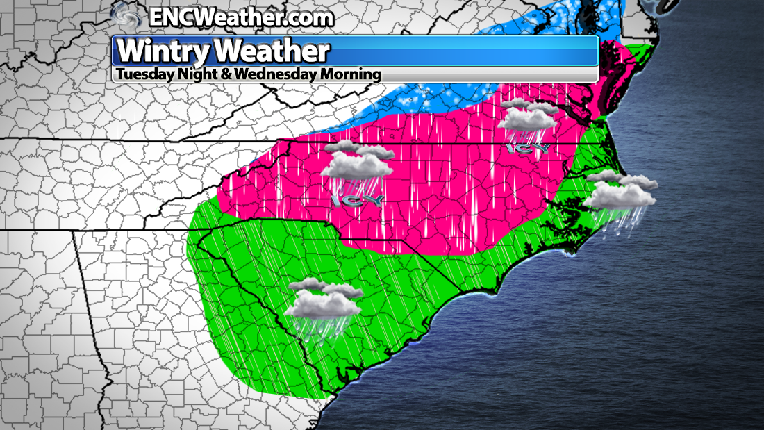 Map depicting the areas that MIGHT see frozen precipitation at some point Tuesday night and Wednesday morning.