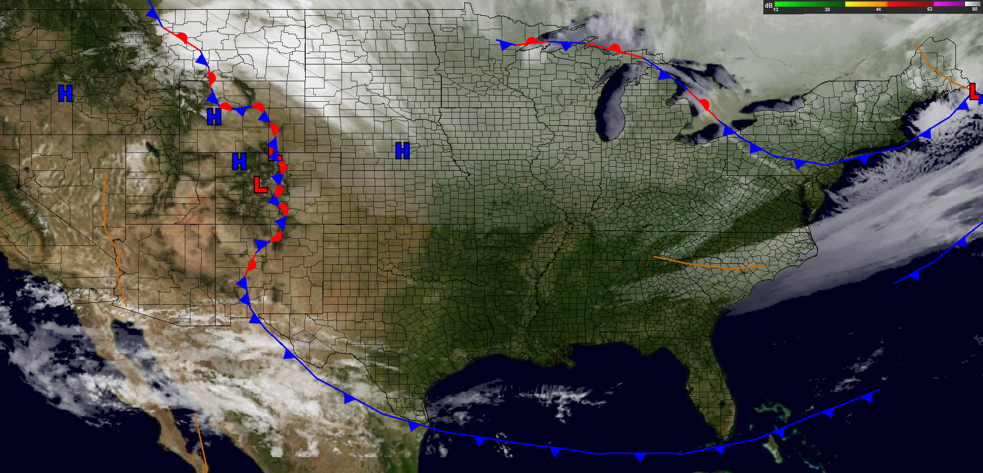 Surface analysis at 7:30 PM EST.