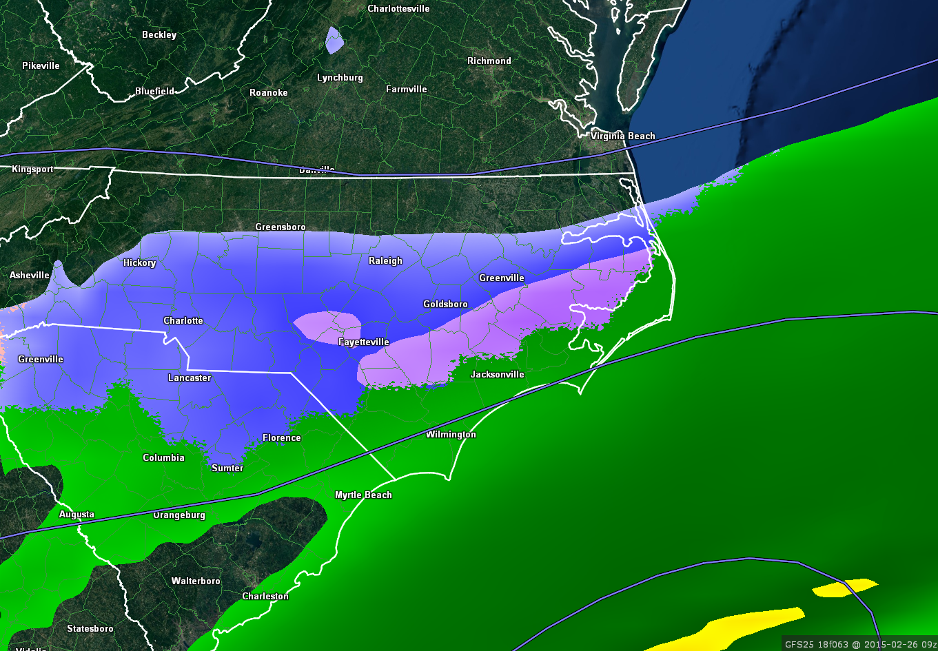 GFS forecast model precipitation type for Wednesday night.