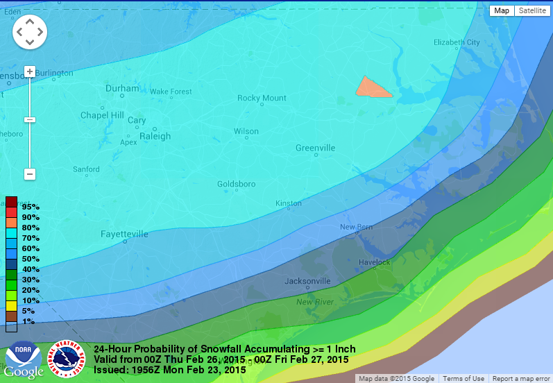 "Probability of snowfall greater than 1"" over a 24 hour time frame Wednesday night through Thursday night."
