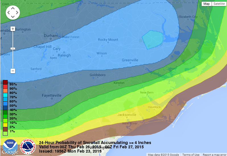 "24 hour probability of snow accumulation greater than 4"" Wednesday night through Thursday night."