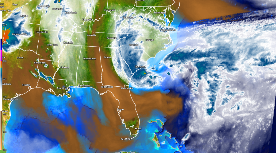 Dry air (orange) being drawn into the storm helping keep the storm from intensifying much.