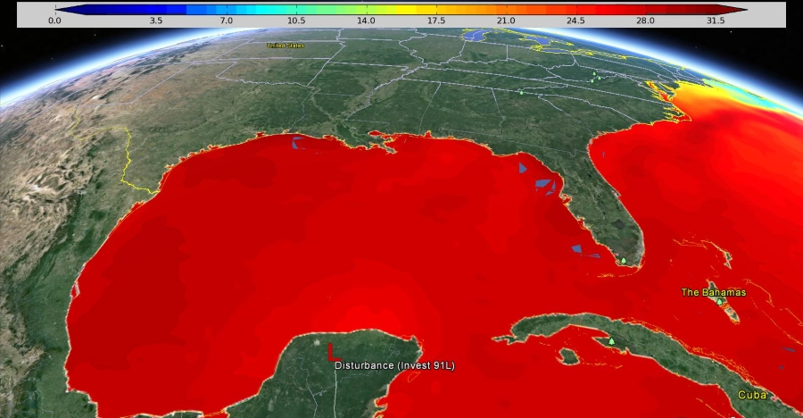 Water temperatures over Gulf of Mexico.