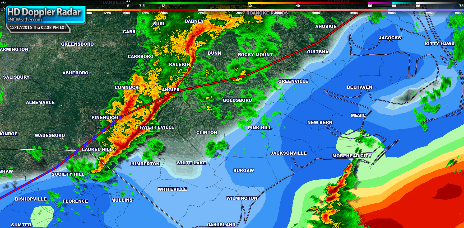 Radar combined with CAPE values for ENC. The red line marks the location of the warm front.