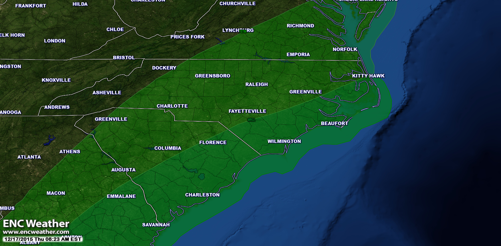 The Storm Prediction Center has parts of ENC in the marginal category for thunderstorms this afternoon and this evening.