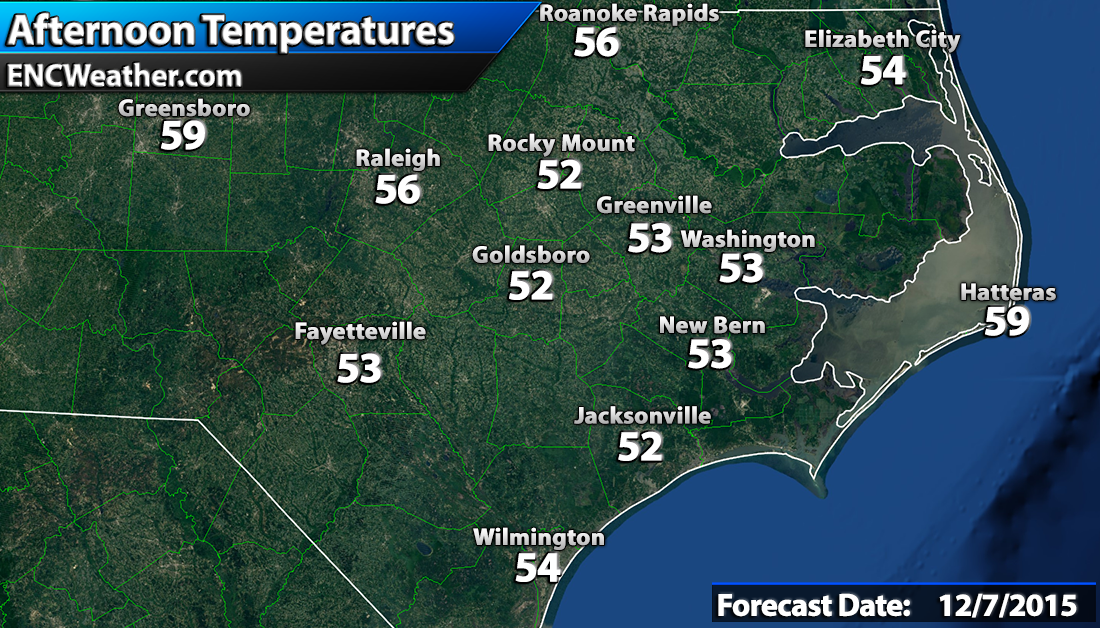 Forecast high temperatures across ENC.