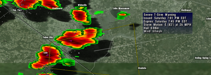 Cancelled: Severe Thunderstorm Warning For Brunswick and Columbus Counties Until 7:45 PM