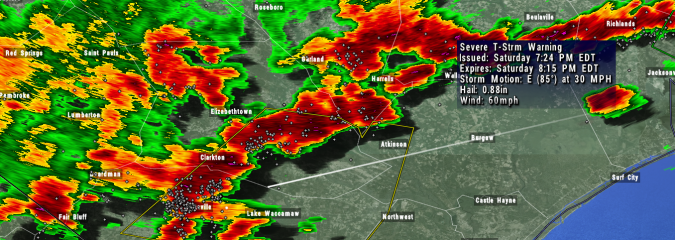 Cancelled: Severe Thunderstorm Warning For Pender, Bladen, and Columbus Counties Until 8:15 PM